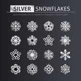 Silberne Schneeflocken-Ikonen eingestellt Lizenzfreie Stockbilder