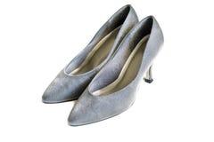 Silberne Schuhe Stockfotografie
