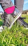 Silberne Schuhe in den Wildflowers, Stockfotos