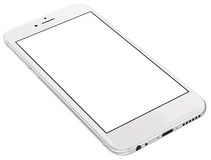 Silberne Smartphones mit dem leeren Bildschirm, lokalisiert auf weißem Hintergrund Stockfotografie