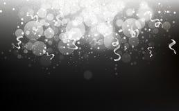 Silberne Sterne fallende Konfettis, Staub, glühende Partikel zerstreuen g lizenzfreie abbildung