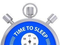 Silberne Stoppuhr-Zeit zu schlafen Stockfotos