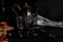 Silberne Teekanne und getrocknete Hagebutten stockbild