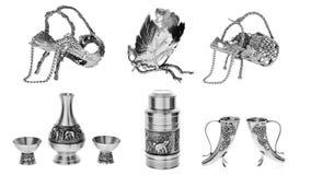 Silberne Teller, Collage auf weißem Hintergrund lizenzfreies stockfoto