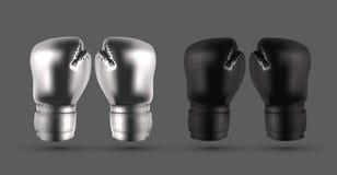 Silberne und schwarze Boxhandschuhe lokalisiert auf grauem abstraktem backgro vektor abbildung