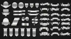 Silberne und Stahlbänder, Metall, das Fahnenvektorsatz einwickelt stock abbildung