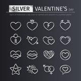 Silberne Valentinsgruß-Tagesikonen eingestellt Stockfoto