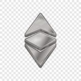 Silberne Vektorikone Art 3d Ethereum klassische Stockfoto
