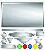 Silberne Web-Tasten und -stäbe Stockfoto