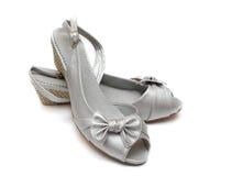 Silberne weibliche Schuhe Lizenzfreie Stockfotos