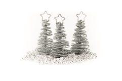 Silberne Weihnachtsbäume Stockfotografie