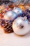 Silberne Weihnachtsdekoration Stockfoto