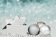 Silberne Weihnachtsdekoration stockfotografie
