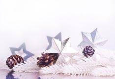 Silberne Weihnachtsdekoration mit Pelzbaumast Stockbild