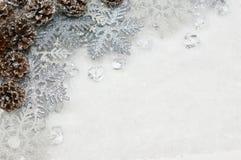 Silberne Weihnachtsschneeflocken und Kiefernkegel schmiegten sich im Eis an Stockfotografie