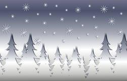Silberne Winter-Weihnachtsbaum-Szene stock abbildung