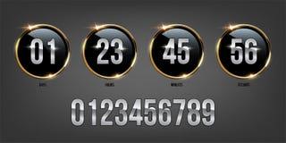 Silberne Zahlen innerhalb der goldenen Ringe auf dunklem Hintergrund Vektorluxuszähler lizenzfreie abbildung
