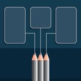 Silberne Zeichenstifte auf blauem Hintergrund Lizenzfreies Stockfoto