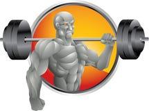 Silberner Bodybuilder mit Gewichtshintergrund Stockbild