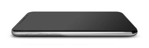 Silberner Chrom Smartphone mit dem schwarzen Schirm, lokalisiert auf weißem Hintergrund stock abbildung