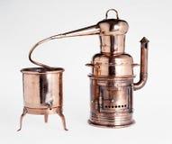 Silberner Destillierkolben der Weinlese Lizenzfreies Stockbild