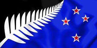 Silberner Fern Flag, Flagge von Neuseeland Stockbild