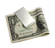 Silberner Geldclip Stockbild