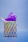 Silberner Geschenk-Beutel Stockbild
