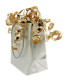 Silberner Geschenk-Beutel mit Gold Ribb stockbilder