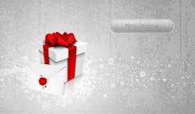 Silberner Geschenk-Kasten der Gruß-Karten-3D Stockfotos