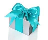 Silberner Geschenkkasten Lizenzfreies Stockfoto