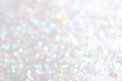Silberner Hintergrund der weichen Lichter Stockfotografie