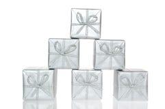 Silberner Kasten des Geschenks Stockbilder