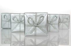 Silberner Kasten des Geschenks Lizenzfreies Stockfoto