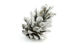 Silberner Kegel lokalisiert auf weißes Weihnachtsdekoration Lizenzfreie Stockbilder