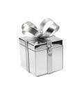 Silberner Metallbevorzugungs-Kasten stockbilder