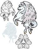 Silberner Pegasus Stockfoto