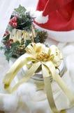 Silberner Plätzchenkasten für Weihnachten Stockbild