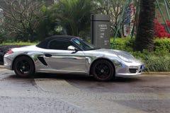 Silberner Porsche Lizenzfreie Stockfotografie