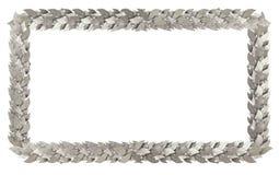 Silberner rechteckiger Rahmen von Lorbeerzweigen Stockfotos