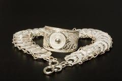 Silberner Ring und Halskette Stockfoto