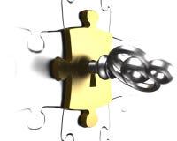 Silberner Schlüssel mit Wiedergabe des Goldpuzzlespielstückes 3D Lizenzfreie Stockbilder