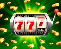 Silberner Spielautomat gewinnt den Jackpot stock abbildung
