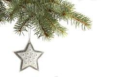 Silberner Stern Weihnachtsbaum Lizenzfreies Stockbild