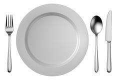 Silberner Tischbestecksatz mit der weißen Platte lokalisiert auf weißem Hintergrund Stockfotografie