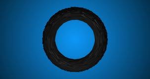 Silberner Torus-drehende Torsion des Metall3d auf blauem Videoanimations-Video des Hintergrund-4k lizenzfreie abbildung