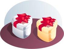 Silberner und goldener Geschenk-Kasten Lizenzfreie Stockfotos