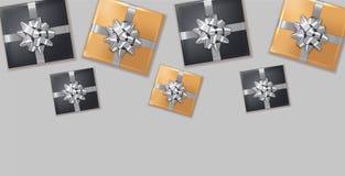 Silberner Vektor Bogen der Geschenkboxen realistisch Dunkler Hintergrund confeti Schein Produktplatzierungsspott oben Entwurf, de stock abbildung