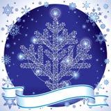 Silberner Weihnachtsbaum Stockfoto