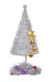 Silberner Weihnachtsbaum getrennt auf Weiß Lizenzfreie Stockbilder